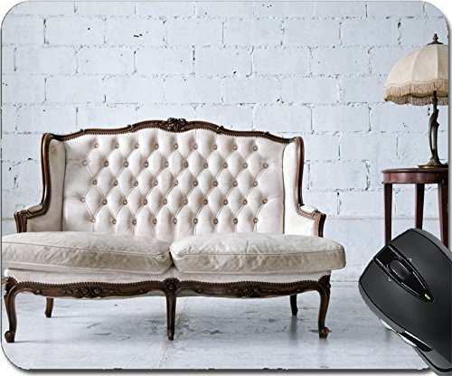 Price comparison product image MSD Natural Rubber Mouse Pad Mouse Pads/Mat design 14899780 White genuine leather classical style sofa in vintage room with desk lamp