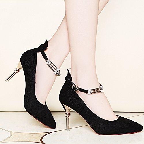 KHSKX-Zapatos De Tacon Alto Zapatos Nueva Multa Y Afilados Zapatos De Mujer Zapatos De Tacones Altos Para Trabajar black