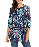 IVVIC Women Floral Printed 3/4 Sleeve Notch Neck Pintuck Casual Tunic Loose Tops Blouse (M,Multicolor)