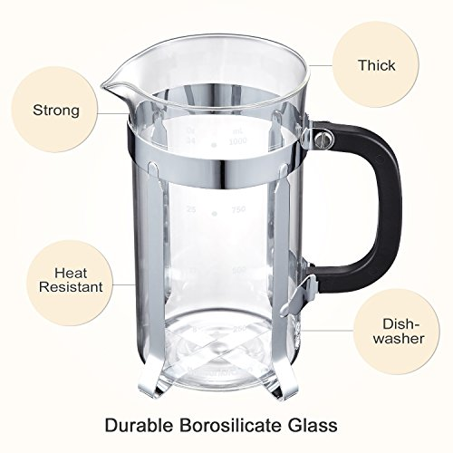 Bonsenkitchen French Press Coffee & Tea Maker, 8 Cup/32 oz, 304 Stainless-Steel Lid, Presser and Frame, Heat Resistant Borosilicate Glass Pot, (CP8871) by Bonsenkitchen (Image #2)