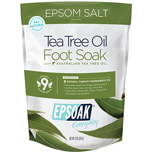 Tea Tree Oil Foot Soak with Epsoak Epsom Salt - 2 POUND (32oz) VALUE BAG - Fight Bacteria, Nail Fungus, Athlete's Foot & Unpleasant Foot Odor; Soften rough calluses & Soothe Tired, Achy Feet (Best Treatment For Aching Feet)