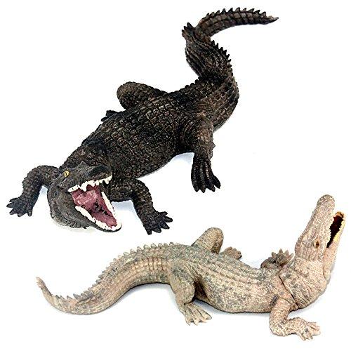 FUNSHOWCASE African Jungle Animals Toy Nile Crocodiles Figure Realistic Plastic Figurine Playset Lot 2-Piece