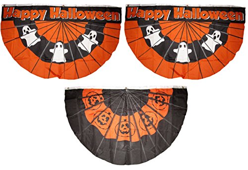 3x5 Happy Halloween 3 Flag Wholesale Set Bunting Fan #2 3'x5' Banner Grommets Double Stitched Fade Resistant Premium Quality -