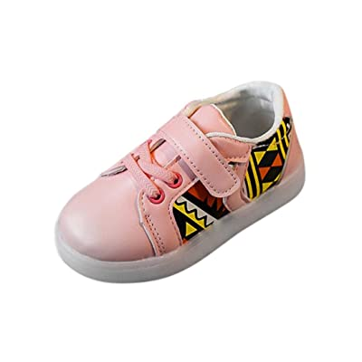 Auwer Baby Sneakers LED Luminous Child Toddler Casual Colorful Light Shoes Leather Single Shoes