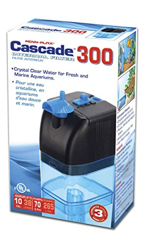 Penn Plax Cascade 300 Submersible Aquarium Filter Cleans Up to 10 Gallon Fish Tank With Physical, Chemical, and Biological Filtration