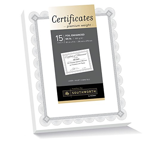 Southworth Premium Weight Certificates, Spiro Design, Silver Foil, 66 lb, White, Pack of 15 ()