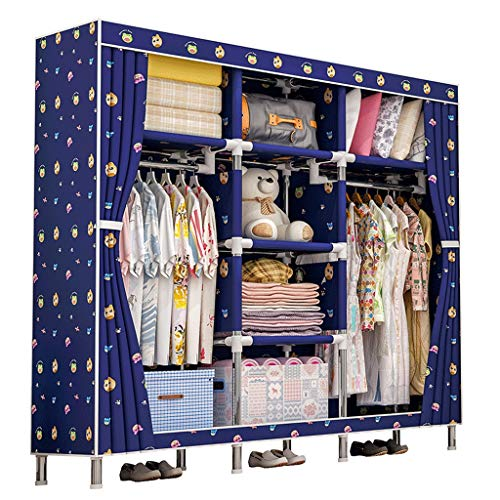 (Byx- Cloth Wardrobe Easy Assembly Clothes Cabinet Oxford Fabric Folding Wardrobe Storage Clothes Home Textile (Color : A))