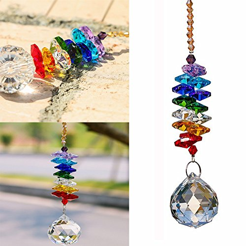 NszzJixo9 30MM Crystal Ball Pendant - Accessories Colorful Octagonal Octagonal Hanging Drop, Car Pendant Crystal Chandelier Pendants Parts Glass Beads ()