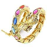 HZMAN 18 K Gold Plated Dragon Simulated Gemstone Wrap Viking Cuff Bangle Bracelet