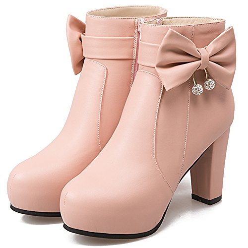 DoraTasia Elegant Bow Shoes For Women With Rhinetone Chunky High Heel Platform Ankle Boots Pink 8tNYKWM