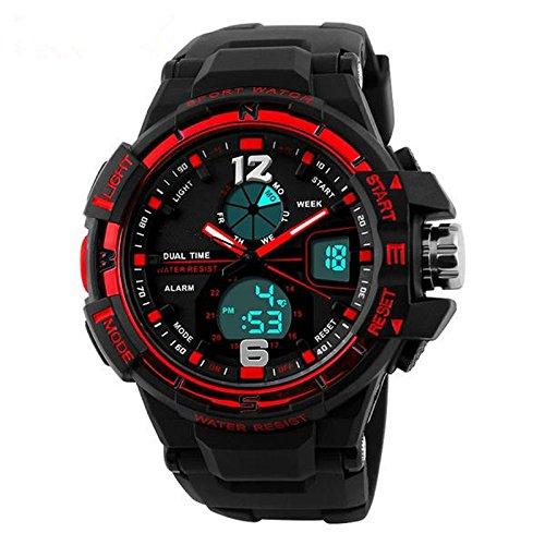 New Sport Military Waterproof Mens LCD Digital Analog Quartz Date Alarm Wrist Watch Black Red (Mens Watches Fossil Cheap)