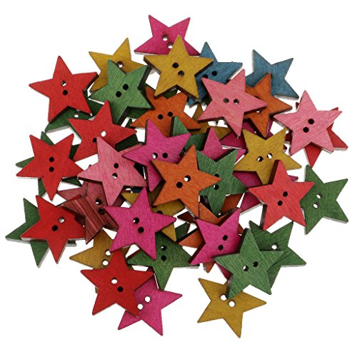 (MagiDeal 50 Pieces Rustic Wood Painted Star Shapes Sewing Wooden Buttons For Clothes Decorative Button Crafts Scrapbooking Card Making Crafting 25mm)