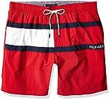 """Tommy Hilfiger Men's 7"""" Swim Trunks, RED, MD"""