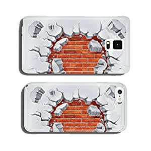 Old Plaster and Red brick wall damage. Vector illustration cell phone cover case iPhone6 Plus