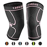 CAMBIVO 2 Pack Knee Brace, Knee Compression Sleeve Support for Running, Arthritis, ACL, Meniscus Tear, Sports, Joint Pain Relief and Injury Recovery(FDA Approved) (Small (14.5'' - 17''), Pink/Black)