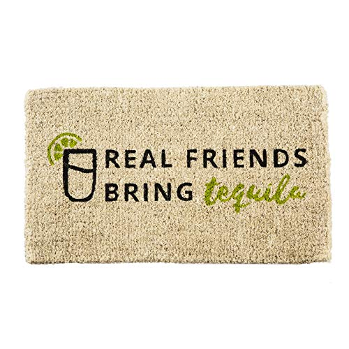 Evergreen Flag Real Friends Bring Tequila Natural Coconut Fiber Coir Floor Mat, 30 x 18 inches
