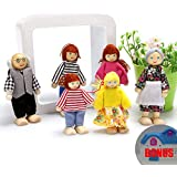DOMOS Happy Dolls Family, Poseable Wooden Joint Figures, Natural Wood, Nontoxic Paint with Bonus a Mini Dollhouse for Children House Pretend Gift
