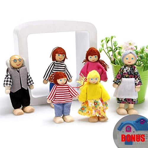 DOMOS Happy Dolls Family, Poseable Wooden Joint Figures, Natural Wood, Nontoxic Paint with Bonus a Mini Dollhouse for Children House Pretend Gift (Best Paint For Dollhouse)