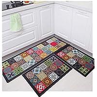Tapete para Cozinha Jogo 3 Pçs Com Passadeira Antiderrapante Nylon Estampas Modernas Mosaico