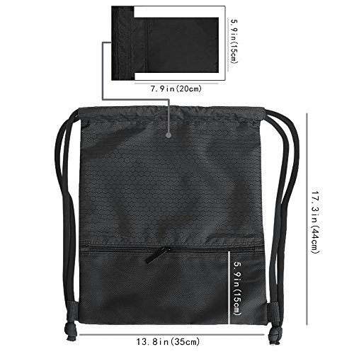 Drawstring Bag With Pockets Waterproof Sports Gym Bag with Large Capacity (Black) by Tosun (Image #2)