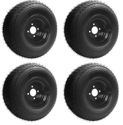 Slasher 18×8.50-8 GTX OEM Golf Cart Wheels and Golf Cart Tires Combo – Set of 4 (18×8.5-8, Black)