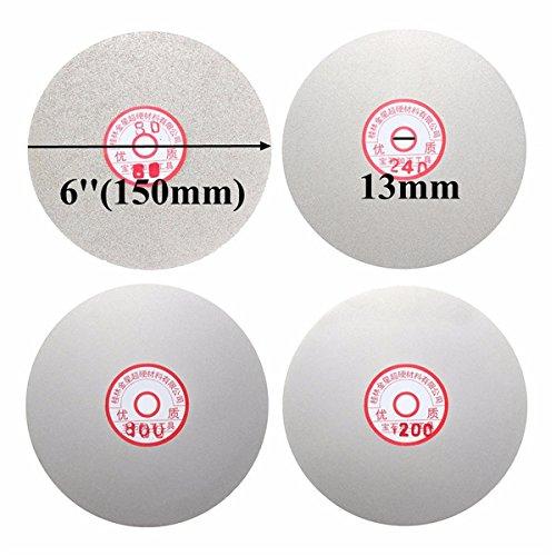 ChaRLes 4Pcs 6 Pouces Roue /À Rev/êtement Plat De 150 mm 80//240//800//120 Enduit De Diamant Roue De Polissage