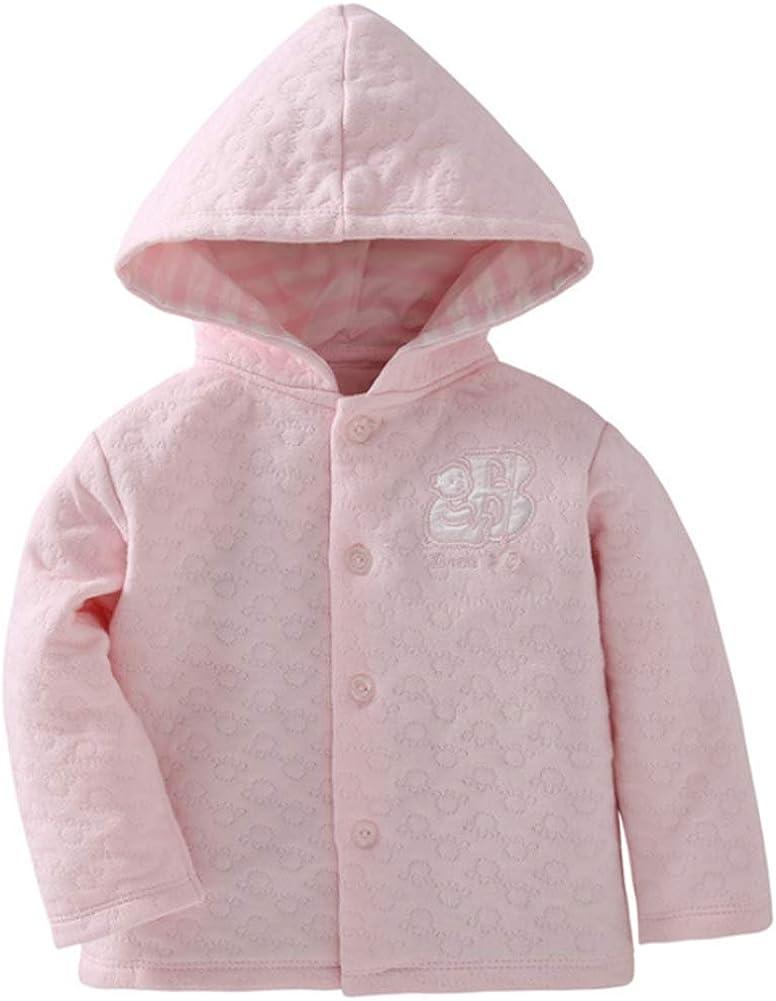 Baby Toddler Girls Premium Hoodie Jacquard Cotton Jacket Long Sleeve Button Coat Sweet Yellow Pink Outwear