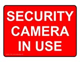 ComplianceSigns Vinyl Security Camera Label, 5 x 3.5 in. with English, 4-Pack Red