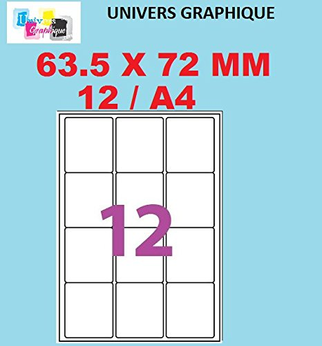 20/hojas de 12/etiquetas autoadhesivas para impresora de inyecci/ón de tinta o impresi/ón l/áser Lote de 240/etiquetas autoadhesivas personalizables compatibles con Wor 63,5/x 72 mm Univers Graphique UGE012- l7164