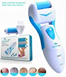 Pedi Electronic Foot File Callus Remover for Dry Feet Home Pedicure Tools Set Shaves Dead Hard Cracked Skin on Feet 2 Mineral Pumice stone Rollers Show Immediate Results For Man & Woman (blue)