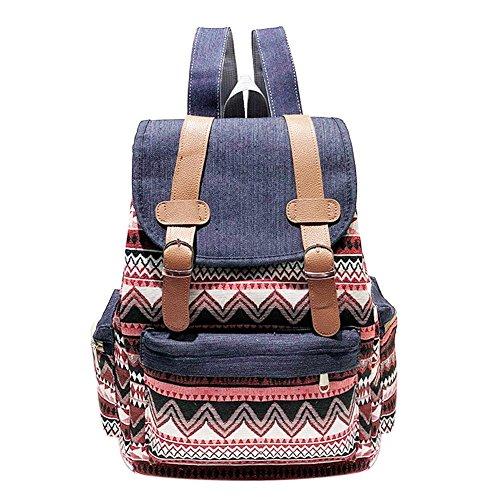 Casual Daypack Backpacks Drawstring Casual Women Print Backpack Canvas Teenage Shoulder Schoolbag(1) HS