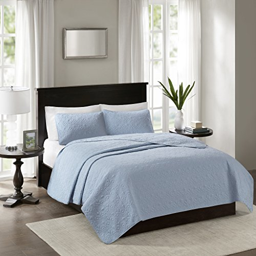 Madison Park Quebec Full/Queen Size Quilt Bedding Set - Blue, Damask – 3 Piece Bedding Quilt Coverlets – Ultra Soft Microfiber Bed Quilts Quilted (Blue Damask)