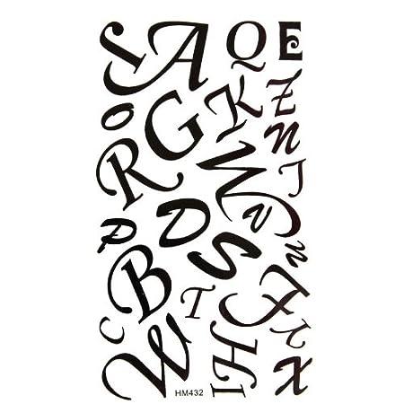 Agua Densidad tatuaje pegatinas letras negras 26 letras en inglés ...
