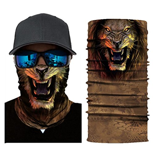 Price comparison product image 3D Face Sun Mask, Animals Face Mask, Magic Scarf, Neck Gaiter, Bandana, Balaclava, Headband for Cycling, Motorcycling, Running, Skateboarding, Moisture Wicking UV Protection, Great for Men & Women (G)
