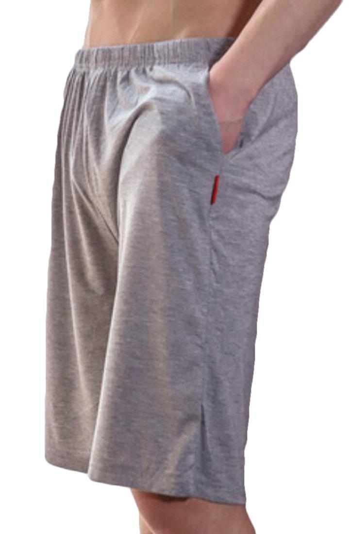 UUYUK-Men Casual Sleep Shorts Loose Lounge Shorts Pajama Bottom Pants Grey US XL