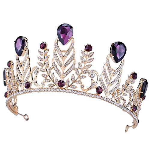 FUMUD Wedding Bridal Crystal Tiara Crowns Princess Queen Pageant Prom Rhinestone Tiara Large drops of water Crown Bridal Wedding Accessories Headpiece Headband (Purple) (Purple Rhinestone Crown)