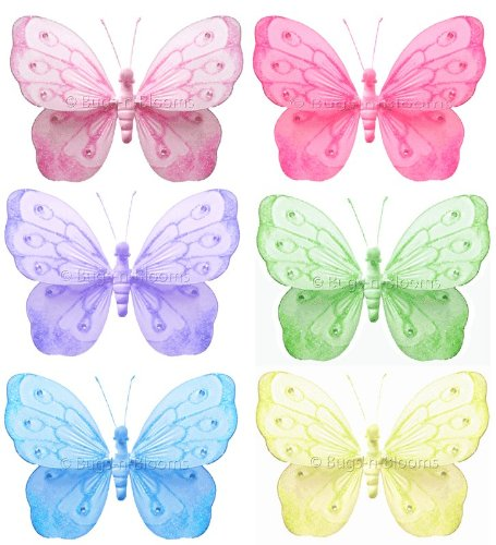 Butterfly Decorations 5″ Small Shimmer Nylon Hanging Butterflies Decor 6 piece Set (Dark Pink (Fuchsia), Pink, Purple, Yellow, Blue, Green) – Decorate for a Baby Nursery Bedroom, Girls Room Ceiling Wall Decor, Wedding Birthday Party, Bridal Baby Shower, Bathroom. Kids Childrens Decoration 3D Art Craft, Baby & Kids Zone