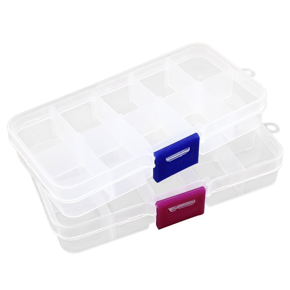 2pcs Plastic Jewelry Fishing Hook Small Accessories Organizer Container 10 Adjustable Clearly Storage box Co-link