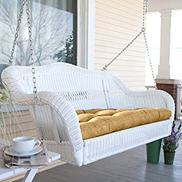 Coral Coast Casco Bay Resin Wicker Porch Swing with Optional Cushion No Cushion – CWR018-1