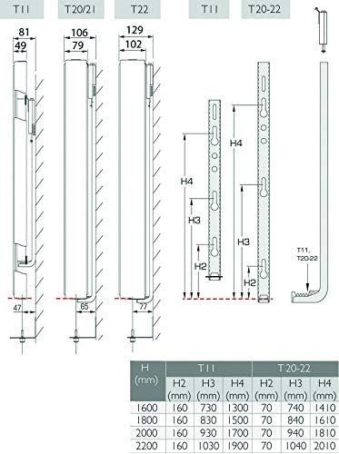 2000 mm x 600 mm Belrad Vertikalheizk/örper CV-Plan Typ 20 H/öhe 2000 mm Vertikal Plan galtte Vorderseite Badheizk/örper Heizwand Paneelheizk/örper