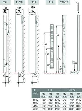 1800 mm x 500 mm Stelrad Vertikalheizk/örper CV-Plan Typ 22 H/öhe 1800 mm Vertikal Plan galtte Vorderseite Badheizk/örper Heizwand Paneelheizk/örper