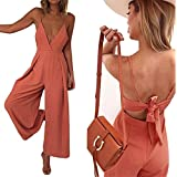 YT couple Women Sexy Solid Color Sleeveless Spaghetti Strap Back Lace Up Long Pant Casual Loose Jumpsuit Romper (Orange Pink, XL)