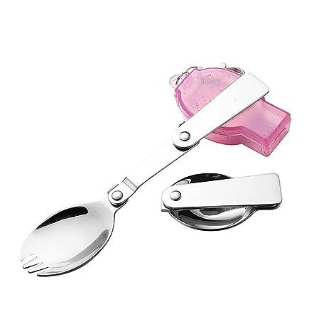 periwinkLuQ Tenedores Plegables y cucharas, Tenedor portátil ...