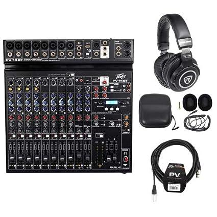 Paquete: Peavey pv14bt Pro Audio DJ mezclador con 8 micrófono en, USB, Compresor