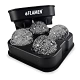 Flamen Ice Ball Maker Mold Fast-Release - Black Flexible Silicone - Round Ice Ball Spheres - BEST ICE BALL MAKER with HIGH QUALITY, Risk Free! SLOW MELT BALLS !