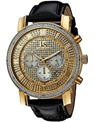 Joshua & Sons Mens JS-28-YGBK Yellow Gold Multifunction Crystal Pave Dial Quartz Watch With Black Leather Strap
