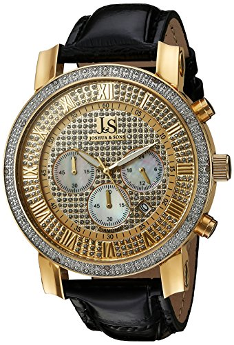 Joshua Sons Men s JS-28-YGBK Yellow Gold Multifunction Crystal Pave Dial Quartz Watch With Black Leather Strap