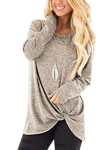 SAMPEEL Womens Plus Size Winter Warm Clothes T Shirts Blouses Sweaters Plus Size Khaki XXL Cotton Cowl Neck Sweater