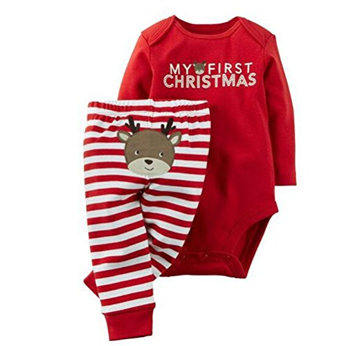 Neband Christmas Santa Long Sleeve 2 PCs Baby Boys Girls My First Christmas Letters Print Romper Pants Set