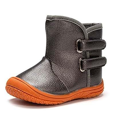 Enteer Baby Boys' Soft Rubber Sole Anti-Slip Warm Winter Prewalker Leather Toddler Boots Grey